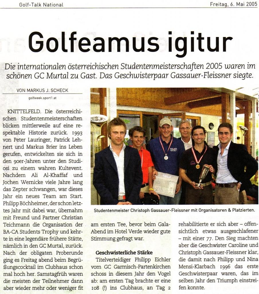 Golfeamus igitur! | Students Golf Trophy 2005 - Golfweek, 06.05.2005, von Markus J. Scheck